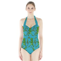 Swamp Monster Pattern Halter Swimsuit