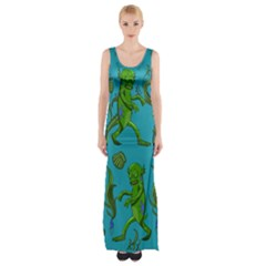 Swamp Monster Pattern Maxi Thigh Split Dress