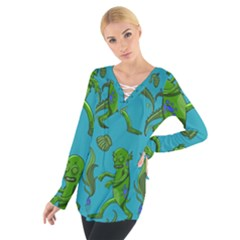 Swamp Monster Pattern Women s Tie Up Tee