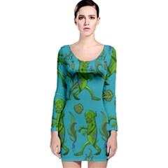 Swamp Monster Pattern Long Sleeve Velvet Bodycon Dress