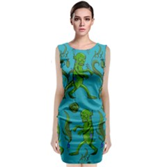 Swamp Monster Pattern Classic Sleeveless Midi Dress