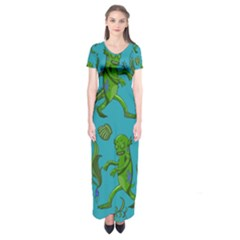 Swamp Monster Pattern Short Sleeve Maxi Dress
