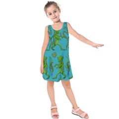 Swamp Monster Pattern Kids  Sleeveless Dress