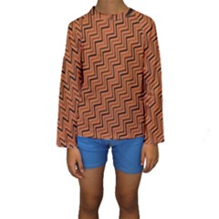 Brown Zig Zag Background Kids  Long Sleeve Swimwear