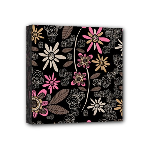 Flower Art Pattern Mini Canvas 4  X 4