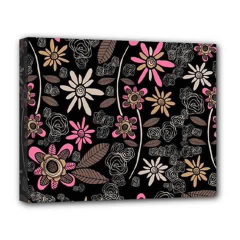 Flower Art Pattern Deluxe Canvas 20  X 16