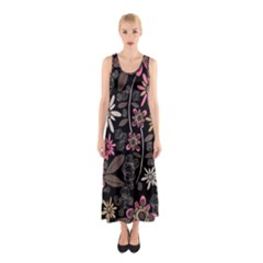 Flower Art Pattern Sleeveless Maxi Dress