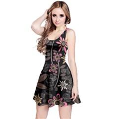 Flower Art Pattern Reversible Sleeveless Dress