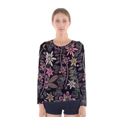 Flower Art Pattern Women s Long Sleeve Tee