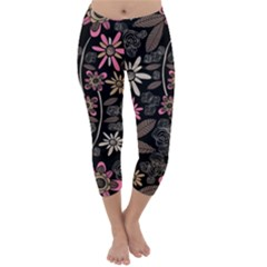 Flower Art Pattern Capri Winter Leggings