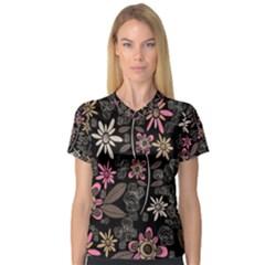 Flower Art Pattern Women s V-Neck Sport Mesh Tee