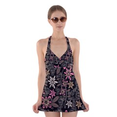 Flower Art Pattern Halter Swimsuit Dress