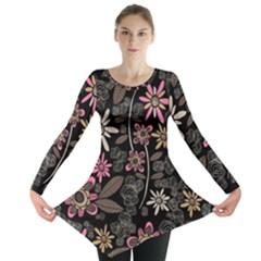 Flower Art Pattern Long Sleeve Tunic
