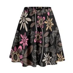 Flower Art Pattern High Waist Skirt