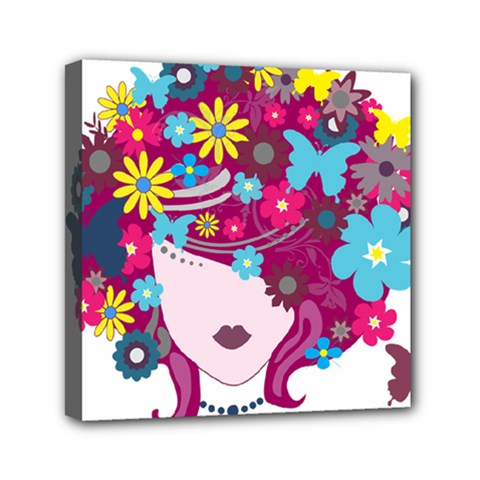 Beautiful Gothic Woman With Flowers And Butterflies Hair Clipart Mini Canvas 6  x 6
