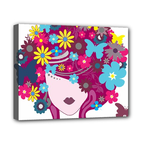 Beautiful Gothic Woman With Flowers And Butterflies Hair Clipart Canvas 10  x 8