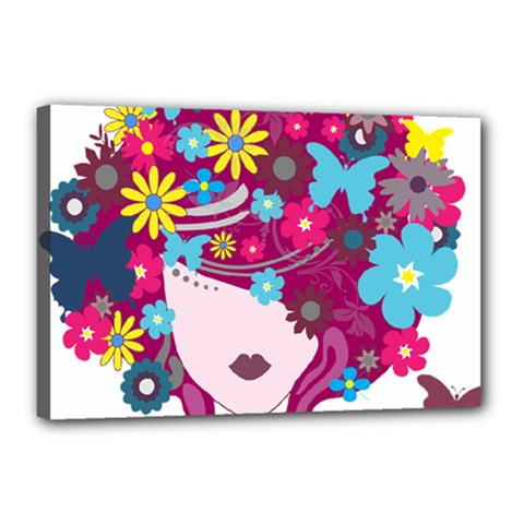 Beautiful Gothic Woman With Flowers And Butterflies Hair Clipart Canvas 18  x 12
