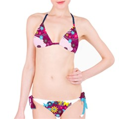 Beautiful Gothic Woman With Flowers And Butterflies Hair Clipart Bikini Set