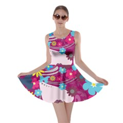 Beautiful Gothic Woman With Flowers And Butterflies Hair Clipart Skater Dress