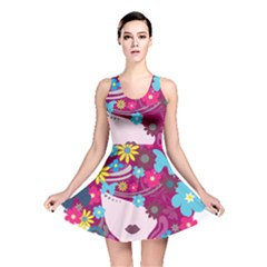 Beautiful Gothic Woman With Flowers And Butterflies Hair Clipart Reversible Skater Dress