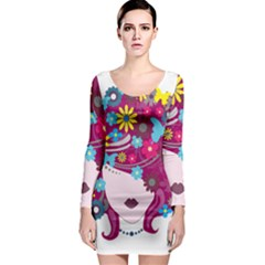 Beautiful Gothic Woman With Flowers And Butterflies Hair Clipart Long Sleeve Bodycon Dress
