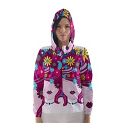 Beautiful Gothic Woman With Flowers And Butterflies Hair Clipart Hooded Wind Breaker (Women)