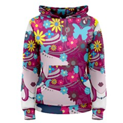 Beautiful Gothic Woman With Flowers And Butterflies Hair Clipart Women s Pullover Hoodie