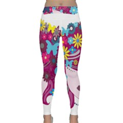 Beautiful Gothic Woman With Flowers And Butterflies Hair Clipart Classic Yoga Leggings