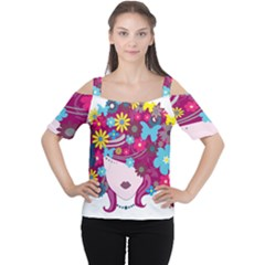 Beautiful Gothic Woman With Flowers And Butterflies Hair Clipart Women s Cutout Shoulder Tee