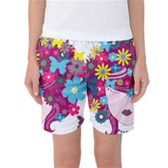 Beautiful Gothic Woman With Flowers And Butterflies Hair Clipart Women s Basketball Shorts