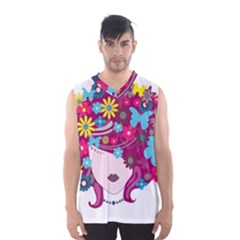 Beautiful Gothic Woman With Flowers And Butterflies Hair Clipart Men s Basketball Tank Top