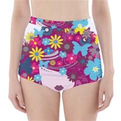 Beautiful Gothic Woman With Flowers And Butterflies Hair Clipart High-Waisted Bikini Bottoms