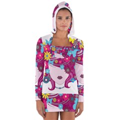 Beautiful Gothic Woman With Flowers And Butterflies Hair Clipart Women s Long Sleeve Hooded T Shirt