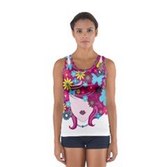 Beautiful Gothic Woman With Flowers And Butterflies Hair Clipart Women s Sport Tank Top