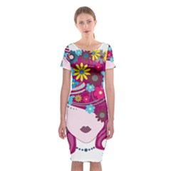 Beautiful Gothic Woman With Flowers And Butterflies Hair Clipart Classic Short Sleeve Midi Dress