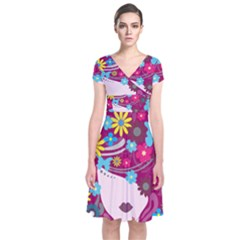Beautiful Gothic Woman With Flowers And Butterflies Hair Clipart Short Sleeve Front Wrap Dress