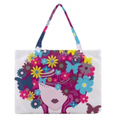 Beautiful Gothic Woman With Flowers And Butterflies Hair Clipart Medium Zipper Tote Bag