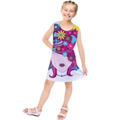 Beautiful Gothic Woman With Flowers And Butterflies Hair Clipart Kids  Tunic Dress