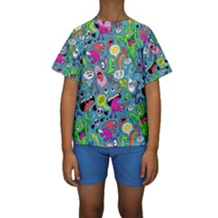 Monster Party Pattern Kids  Short Sleeve Swimwear