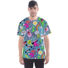 Monster Party Pattern Men s Sports Mesh Tee