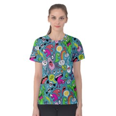 Monster Party Pattern Women s Cotton Tee