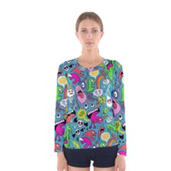 Monster Party Pattern Women s Long Sleeve Tee