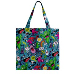 Monster Party Pattern Zipper Grocery Tote Bag