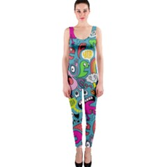 Monster Party Pattern Onepiece Catsuit
