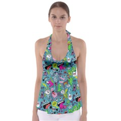 Monster Party Pattern Babydoll Tankini Top