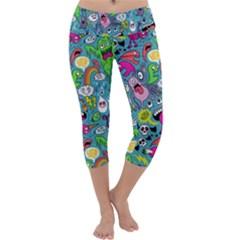 Monster Party Pattern Capri Yoga Leggings