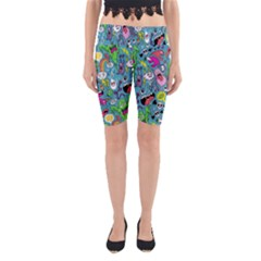 Monster Party Pattern Yoga Cropped Leggings