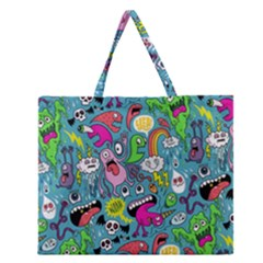 Monster Party Pattern Zipper Large Tote Bag