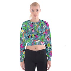 Monster Party Pattern Cropped Sweatshirt