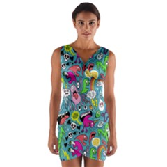 Monster Party Pattern Wrap Front Bodycon Dress